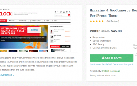 WordPress模板分享 Clock v1.2.1 WP Responsive WooCommerce