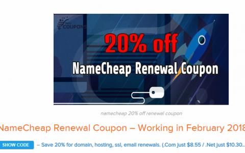 Namecheap.com域名续费也是可以用优惠码的