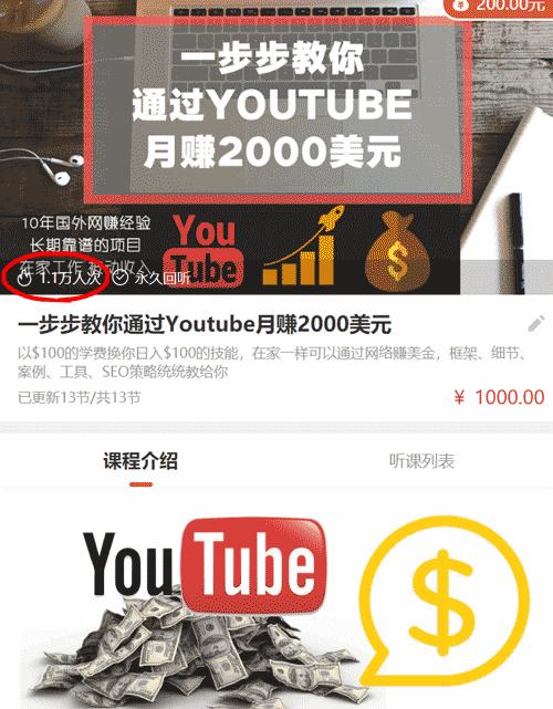 VIP教程:《一步步教你通过youtube月赚2000美元》