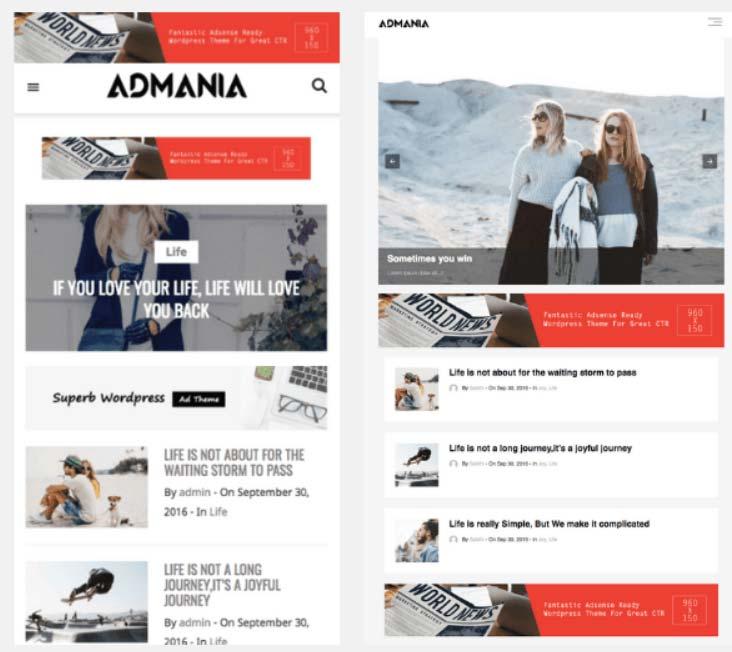 WordPress主题模板分享:Admania, 适合AdSense和Amazon Affiliate网站