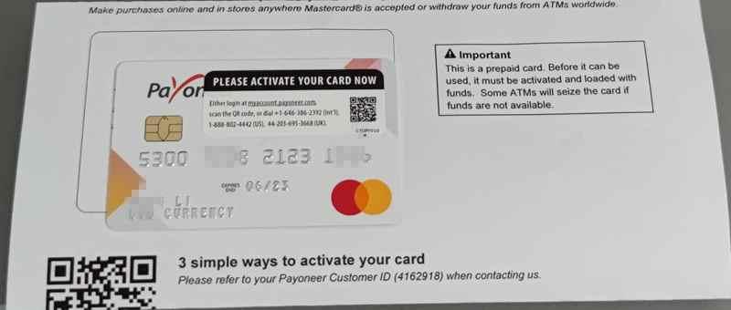 payoneer卡