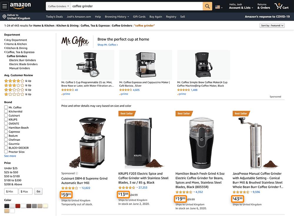 查看亚马逊产品价格